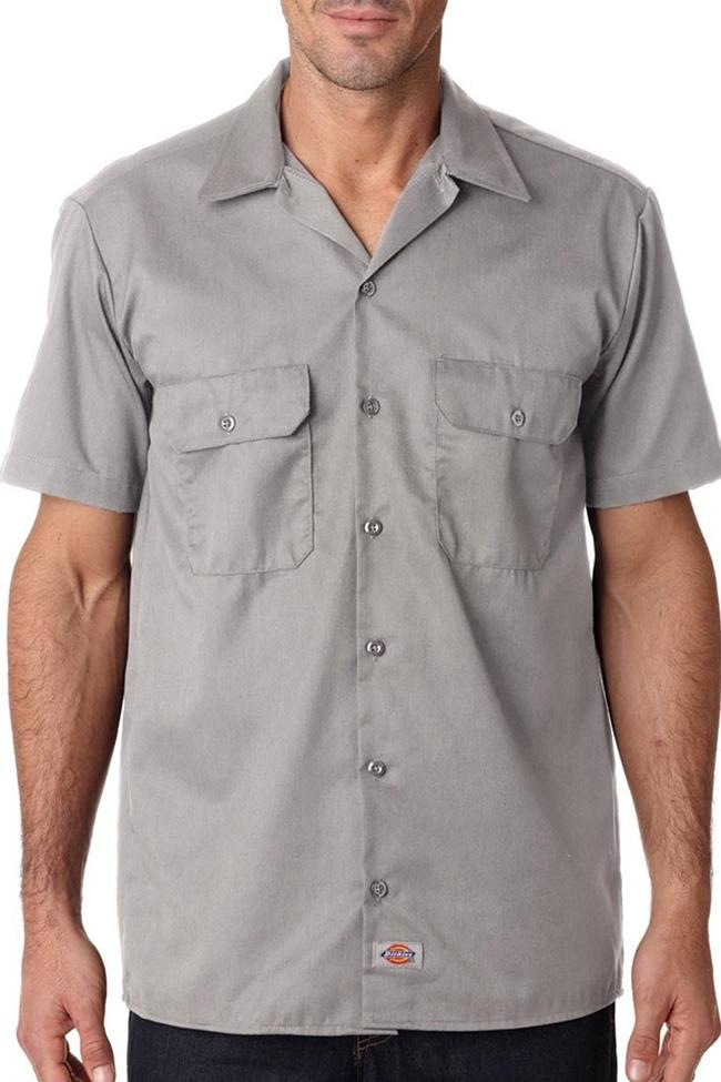 Front view wearing light grey, Dickies short sleeve 1574 work shirt with head cropped.