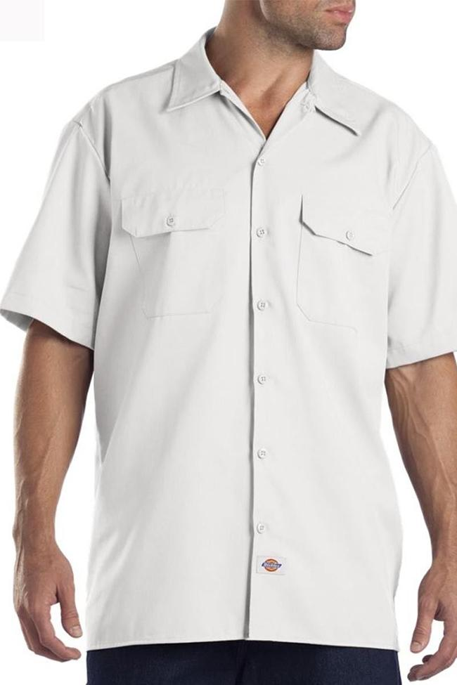 Front view wearing white, Dickies short sleeve 1574 work shirt with head cropped.
