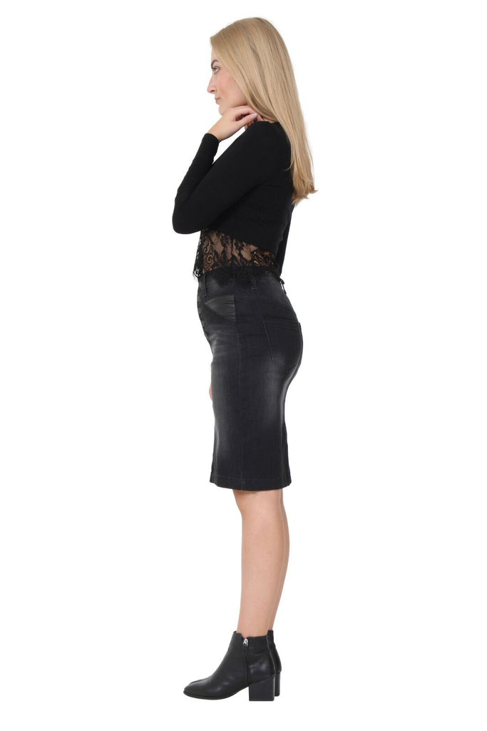 Side view of dark denim, cotton-polyester blend, button-front skirt.