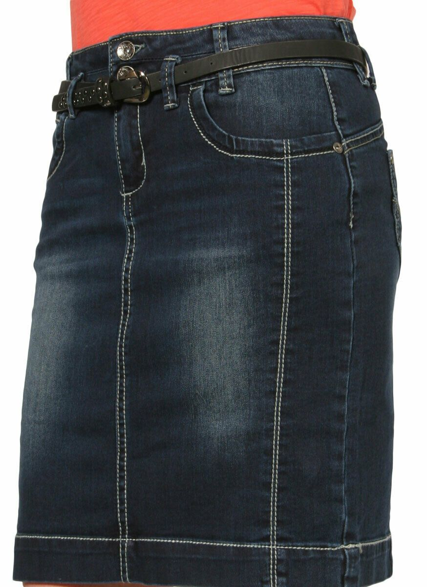 Close-up side view of stretchy, cotton-polyester blend dark denim above-the-knee skirt.