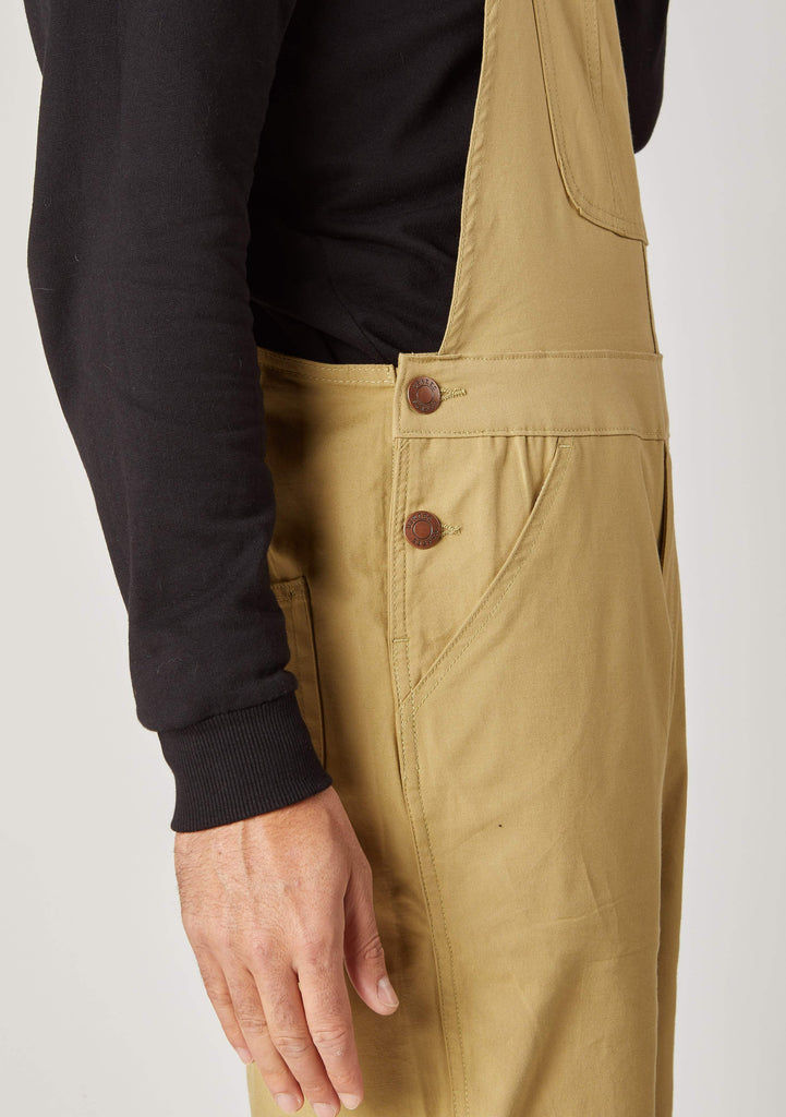 Close-up of side pocket detailing from 'Christopher' brand khaki dungaree shorts from Dungarees Online.