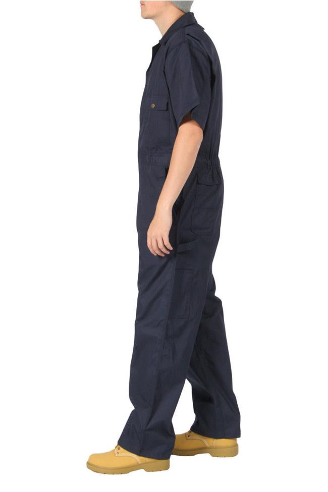 Full side view of navy blue 'Key USA' overalls, showing robust stitching and poplin fabric.