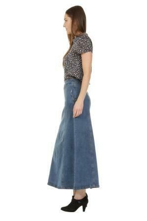 Focus on side of 'Emma' denim skirt from Dungarees Online with view of side pockets.