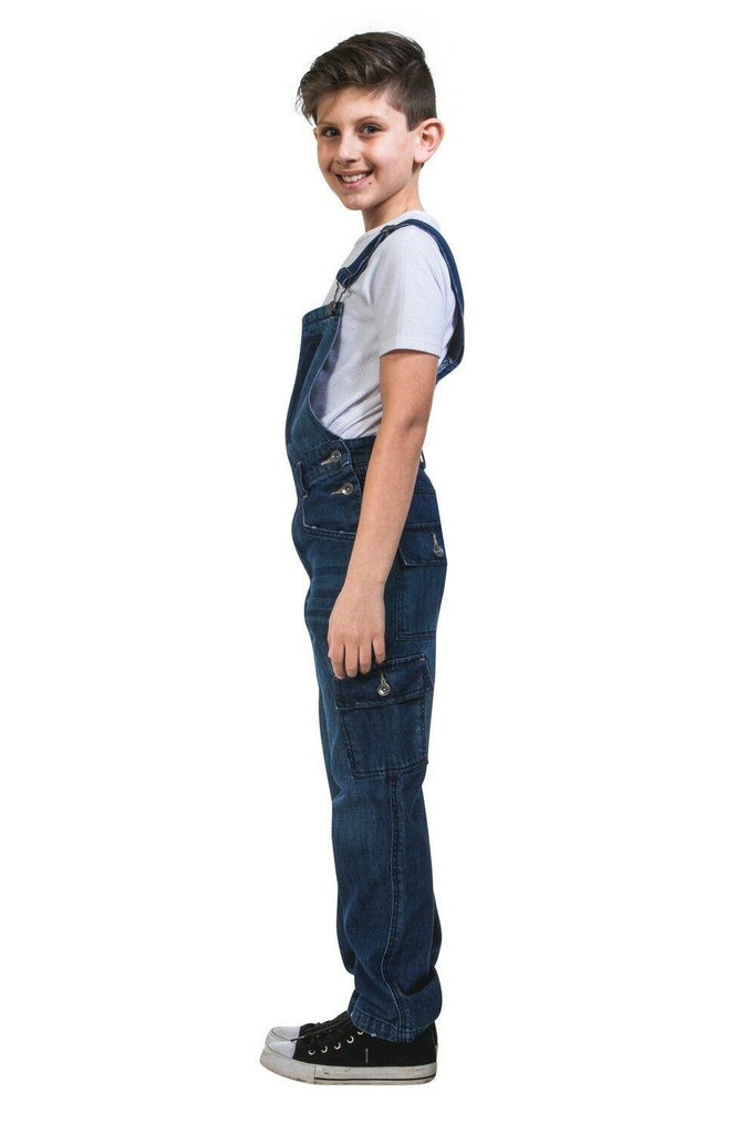 Full-length side view of fashionable cargo-pocket dungarees for boys and girls.