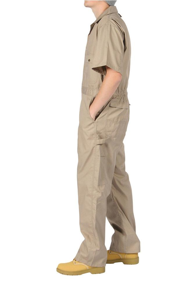 Full side view of khaki 'Key USA' overalls, showing robust stitching and poplin fabric.