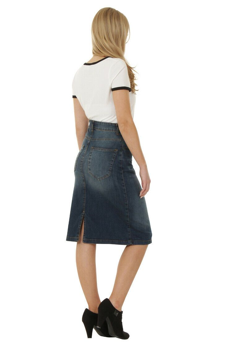 Side view of 'Laura' style stretchy denim skirt with back split.