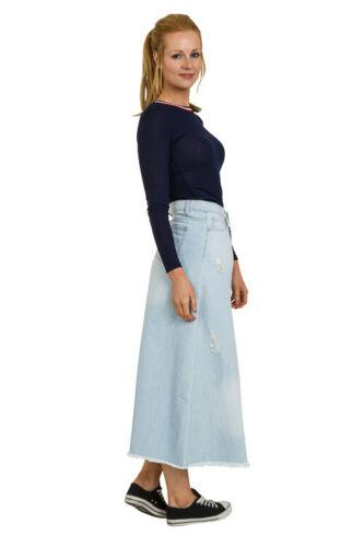 Raw hemmed pale wash maxi skirt made from stretchy denim viewed from an angled frontal position.