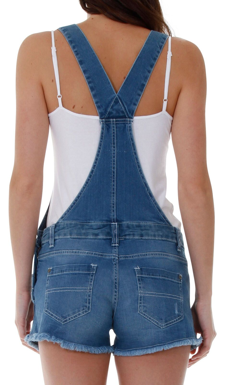 Top-half rear of stretch-denim bib-overall shorts from Dungarees Online with view of belt loops, straps and back pockets.