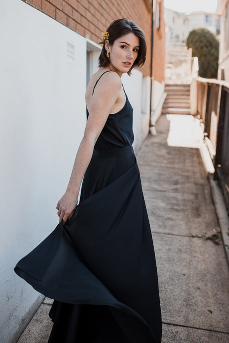 Bias Maxi With Overskirt In Black