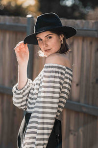 Cropped Off Shoulder Top  In Stripes