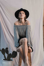 Load image into Gallery viewer, Cropped Off The Shoulder Top In Stripes