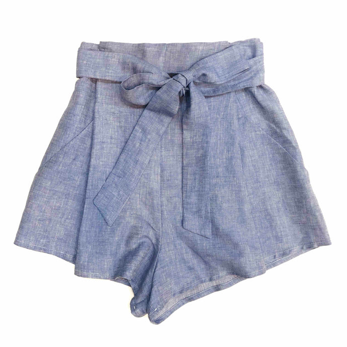 Paperbag Shorts In Blue Linen