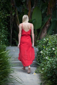 Evie Dress In Red Silk
