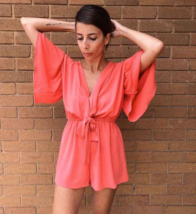 Angel Wing Playsuit - Watermelon