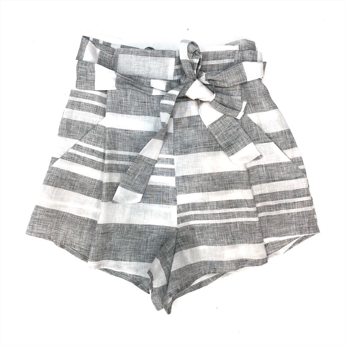 Paperbag Shorts In Linen Stripe