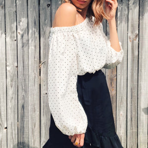 Cropped Off  Shoulder Top In Little Spots