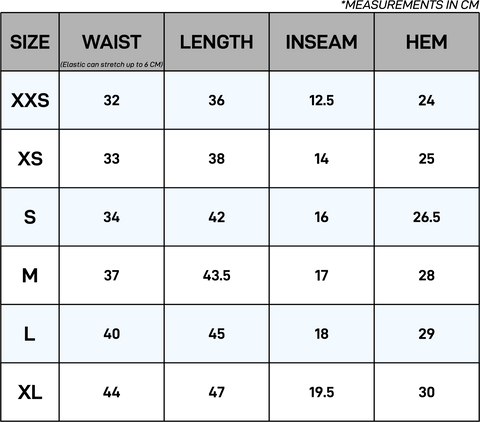Everyday Terry Shorts Size Chart