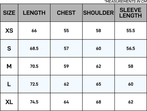 Thermal Velour Dual-Zip Size Chart