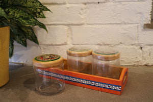 Three Glass Jars with Tray