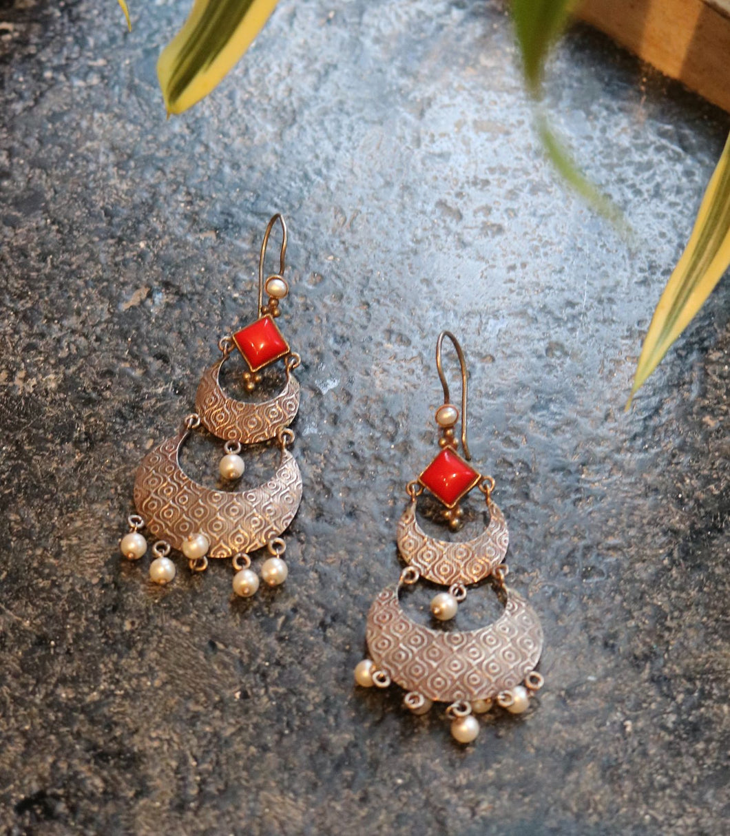 Red Silver Earring with White Beads