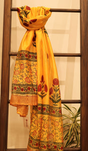 Dark Yellow Chanderi Mughal Handpainted Duppatta