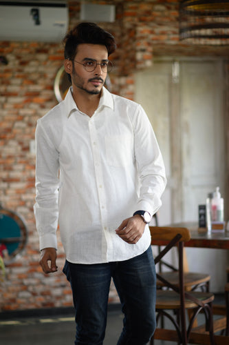 White Cotton Slim Fit Shirt