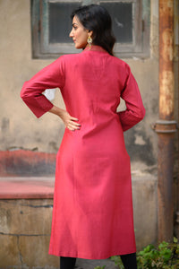 Red Chanderi Kurta - 001