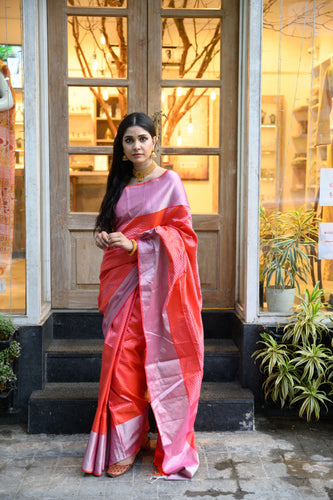 Red & Pink Silk Saree