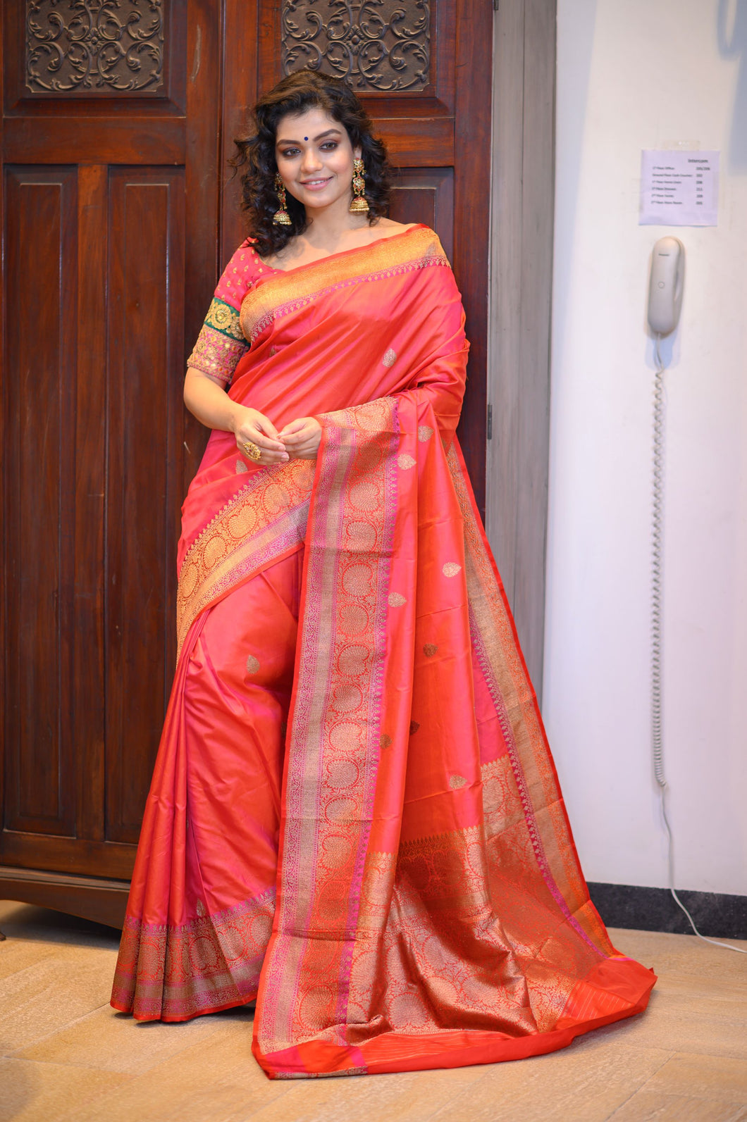 Red Banarasi Saree - 001