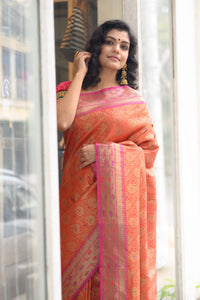 Orange Banarasi Saree