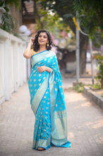 Load image into Gallery viewer, Light Blue Banarasi Saree