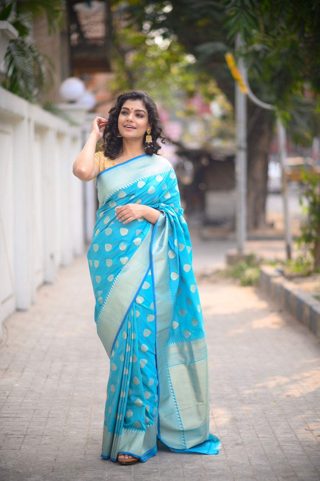 Light Blue Banarasi Saree