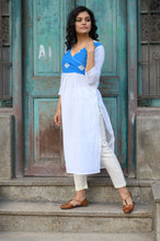 Load image into Gallery viewer, White & Blue Kurti