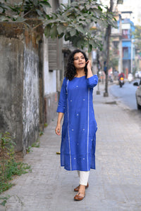 Royal Blue Cotton Kurti