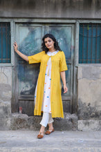 Load image into Gallery viewer, White Handloom Kurta with Yellow Shrug