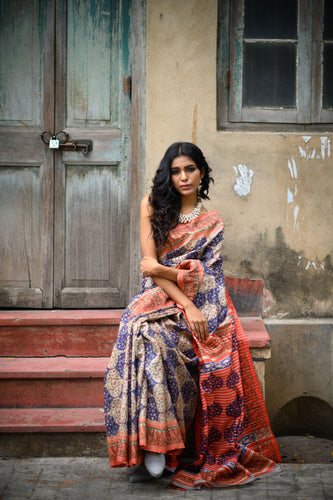 Colourful Tussar Saree