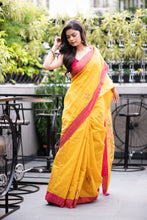 Load image into Gallery viewer, Yellow with Red Border Muslin Jamdani Saree