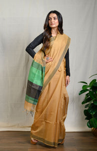 Light Brown Silk Cotton Saree