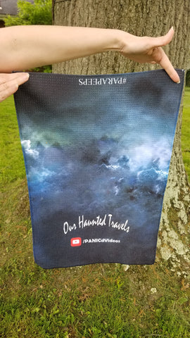 """Our Haunted Travels"" Tea Towel"