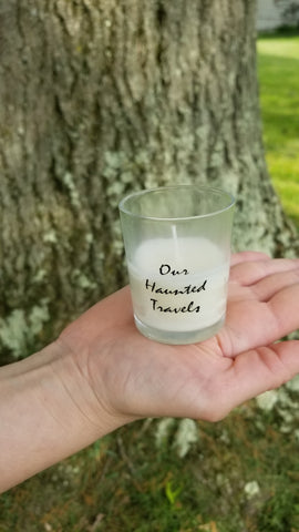 """Our Haunted Travels"" Votive Candle"