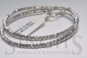 Fancy Diamond Cut Hoop Earrings (14k White Gold) - Singh's Jewellery & Diamonds