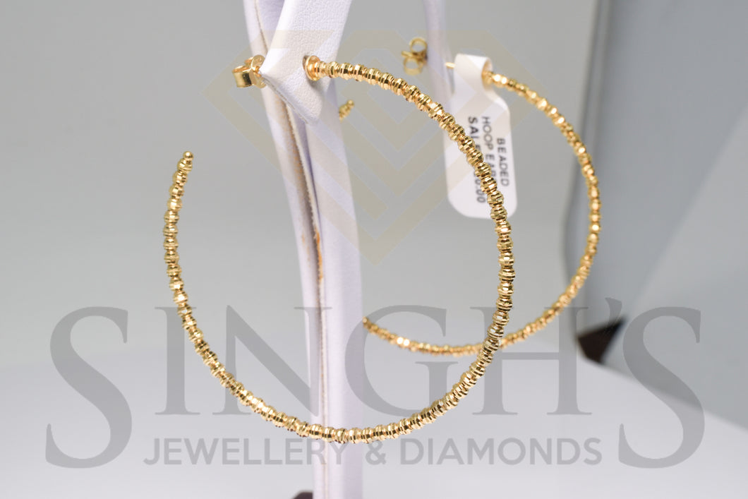 Fancy Diamond Cut Hoop Earrings (14k Yellow Gold) - Singh's Jewellery & Diamonds