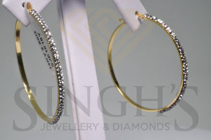 Fancy Hoop Earrings With Crystals (14k Yellow Gold) - Singh's Jewellery & Diamonds