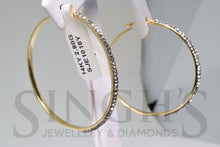 Load image into Gallery viewer, Fancy Hoop Earrings With Crystals (14k Yellow Gold) - Singh's Jewellery & Diamonds