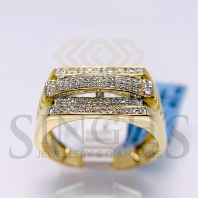 Micro Pave Diamond Mens Ring (10K Yellow Gold) - Singh's Jewellery & Diamonds