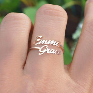 Double Personalized Name Ring