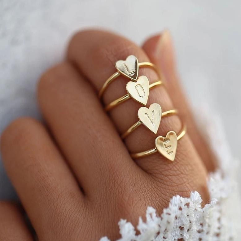 Custom Hearted Letters Ring