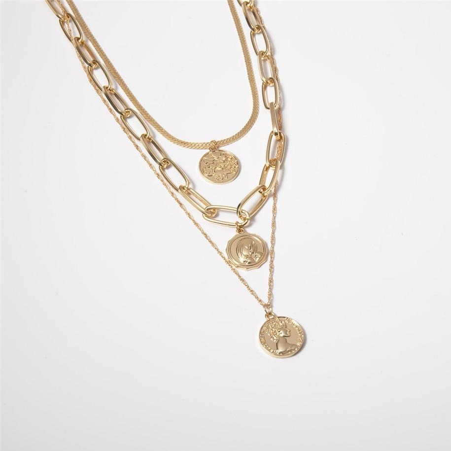 Mary's Carved Coin Necklace Set