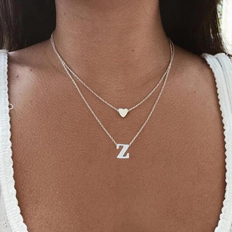 My Multilayered Heart Initial Necklace