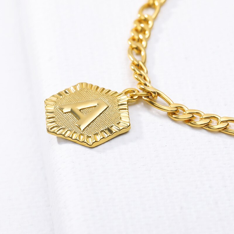 Gold Hexagon Initial Anklet